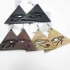 "3"" 3 Color Wood Fashion Earrings w/ Cut Out  Egyptian Eye  .54 each"