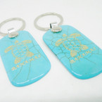 "2.25"" Turquoise Stone Bahama Keychain w/ Gold Turtle  12 per pk .54 each"