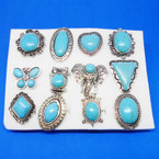 Silver Frame Turquoise Stone Rings 12 Asst Styles  .56 each