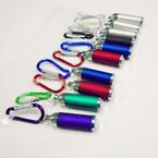 Carabina Clip Keychain w/ Flashlight Asst Colors 12 per pk .62 each