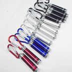 Carabina Clip Keychain w/ Flashlight Asst Color 12 per pk .62 each