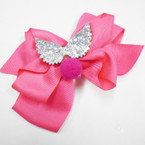 "5"" Layered Gator Clip Bows w/ Silver Sparkle Angle Wings & Pom Pom .54 each"