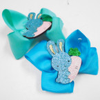 "4"" Mixed Color Gator Clip Bows w/ Sparkle Bunny w/ Carrot 24 pk .27 each"