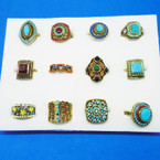 Bohemian Look Southwest Stone Rings Gold Frame  12 Asst Styles  .65 each