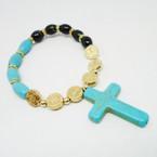 Turq. & Bead Bead Stretch Bracelet w/ Gold San Benito Charm & Stone Cross .54 ea