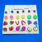 So Cute 12 Pair Kid's Fruit & Crystal Stud  Earrings .50 per set