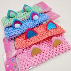 "2.5"" Crochet Headband w/ Sparkle Cats Ears & Pom Pom .52 each"