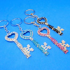 "3"" Elegant Gold & Silver Crystal Stone Keychains Asst Colors  .56 each"