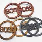 "3"" BOSS Saying Wood Earrings 3 Colors Round .52 each"