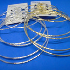 GREAT VALUE 4 Pair Jumbo Gold & Silver Smooth/Textured Hoop Earrings .54 per set