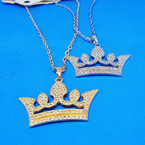 Gold & Silver Neck Set  w/ Crystal Stone Crown Pendant .54 per set