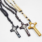 "30"" Wood Bead Rosary w/ Silver Cross w/ JESUS 3 colors .54 each"