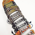 Teen Leather Bracelets w/Gold & Silver Multi Dolphin Plaque  .54 ea