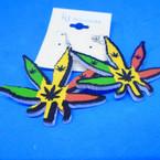 """2.5"""" Rasta Color Leaf Earrings .54 each"""