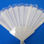 "9"" Plain All White Fabric Lace Fan   12 per pk  .52 ea"