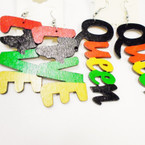"2.5"" Rasta Color LOVE/Queen Wood Earrings  .54 each"