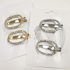 "2 Pack 1.5"" Gold/Silver Hair Clips w/ Clear Rhinestones .54 per set"