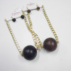 Thick Gold Chain Neck Set w/ Jumbo Wood Ball .54 ea set