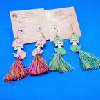 2 Color Mermaid Theme Fashion Earrings w/ Finges  .54 ea