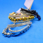 3 Strand Crystal & Metallic Stone Fashion Bracelets 3 colors .54 each