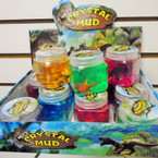 "2.5"" Square Dinosaur Slime Crystal Mud  12 per display .60 each"
