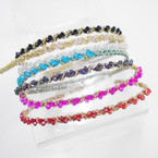 Fashionable Wrapped Headband w/ Crystal Beads Asst Colors .54 each