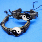 All Black Leather Bracelet w/ Blk & White Ying Yang   .54 each