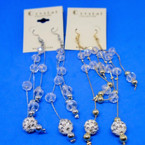 "5"" GOld & Silver Chain Earrings w/ Crystal Bead & Fireball Bead .54 each"