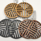 "3"" Cut Out Design Wood Earrings 3 colors   .54 each"