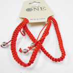 2 Pack All Red Macrame Bracelets w/ Silver Beads  .52 per set