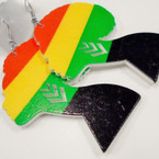 "3.5"" Rasta Color Women's Head Wood Earring .52 each"