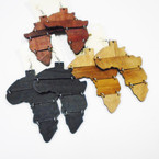 "3"" Africa Map Wood Earrings 3 colors per dz .52 ea"