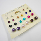 Value Pack 12 Pair Earrings Crystal Studs & Pearl Ball  .52 per set