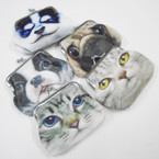 "3.5"" Soft Fabric Dbl Side Cat & Dog Snap Closure Coin Purses .54 each"