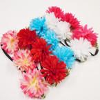 Popular Mum Flower Fashion Headbands w/ Elastic Back  .54 each