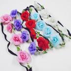 Popular Fashion Flower Fashion Headbands w/ Elastic Back (51) .54 each