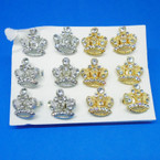 Gold & Silver Crystal Stone Crown Fashion Rings .54 ea