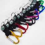 "3"" Metal Carabiner Keychain w/ Compass Asst Colors .54 each"