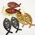 "3"" Wood Jesus Fish Earrings 3 colors   .50  ea"
