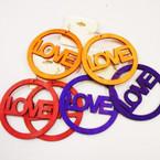 "3"" LOVE Wood Earrings Mixed Bright Colors  per dz .52 ea"
