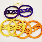 "3"" Round Wood BOSS Earrings Mixed Bright Colors  .52 ea"