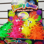 "5"" Neon Color Squiggly Puffer Balls 12 per display bx .75 each"