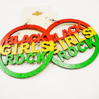 "2.75"" Rasta Color Wood Earrings w/ Black Girls Rock .54 each"
