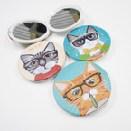 "3"" Round CAT Theme DBL Compact Mirror 12 per pk .56 each"