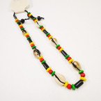 Cord Necklace w/ Wood Rasta Color Beads & Cowrie Shells .54 each