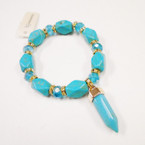 Turquoise Stone & Cry. Bead Stretch Bracelet w/ Point Charm