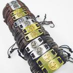 Teen Leather Bracelet w/ Gold & Silver Raised Peace Sign Plaque  .54 ea
