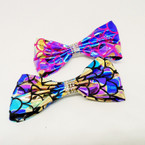 "4.5"" Metallic Mermaid Scale Gator Clip Bows w/ Cry. Stones 24 pk .30 each"