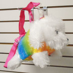 Cutest Rainbow Sequin White Puppy Handbags w/ Lg. Strap 12 per pk $ 3.50 each