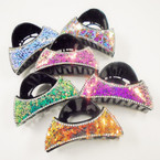"3.5"" Fashion Jaw Clip w/ Cry. Stones & Metallic Chips .54 each"
